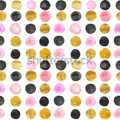 Naklejka wzór złote i różowe kropki. ręcznie rysowane akwarela