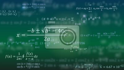 Naklejka Wzory matematyczne. Abstrakta zielony tło z matematyk równaniami unosi się na blackboard. Wzór na okładkę, prezentację, ulotki. Wektorowa ilustracja 3D.