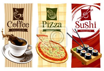 Wzory szablonów banerów żywności. Coffee, pizza i sushi.