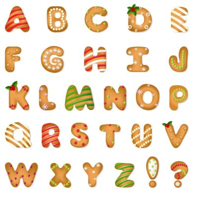 Naklejka Xmas Gingerbread Cookie Alfabet