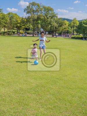 芝 生 広 場 で ボ ー ル 遊 び す る 姉妹