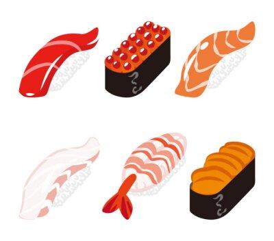 Naklejka 寿司 六 貫 白 バ ッ ク セ ッ ト - Sushi Sześć obiektów zestaw