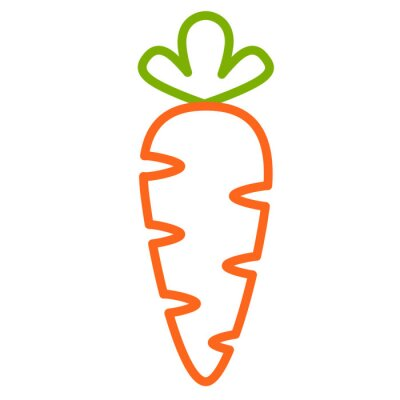 Naklejka Плоская иконка морковь. Контурная векторная иллюстрация морковки. Контурный дизайн