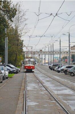Naklejka Трамвай в начале Волоколамского шоссе (Москва)