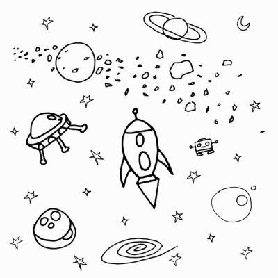 Naklejka Космические объекты на белом фоне