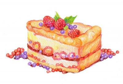 Naklejka торт с ягодами