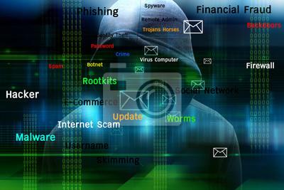 Naklejka Haker komputerowy lub Cyber atak koncepcji tle