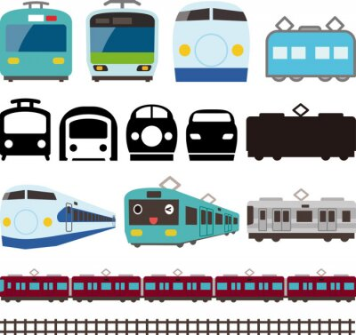 Naklejka 電車と新幹線のアイコンとライン