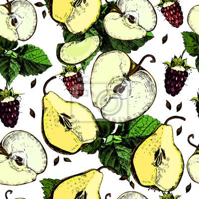 Сolorful wzór z jabłek, gruszek i owoców. Strony rysunku.