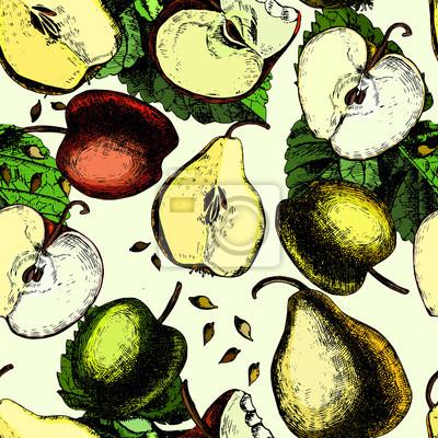 Сolorful wzór z jabłek i gruszek. Strony rysunku.