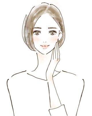 Naklejka 女性 イラスト 幸せ 美容 健康的 スキンケア 美魔女