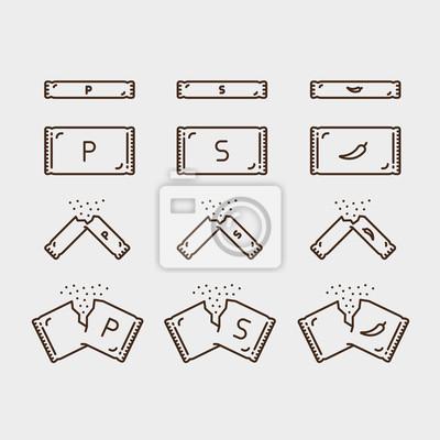Pakiet cukru w sosie pieprzowym Pakiet opakowań Minimalistyczna liniowa linia obrysowa Ikona obrysu Piktogram Zestaw zbioru symboli
