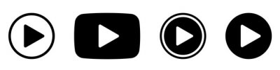 Naklejka Play button сircle. Start buttons sumbol. Arrow logo. Player button flat style. Video audio player navigate collection. Game begin icon set on white beckground - stock vector.