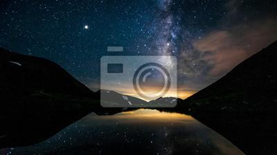 Naklejka 北アルプス、双六池と天の川、登山と自然の絶景