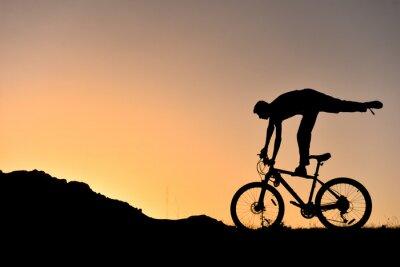 Naklejka sıradışı bisikletçi SILUET