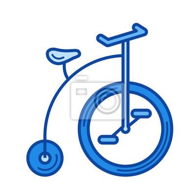 Vintage rowerów wektor ikonę linii samodzielnie na biaÅ,ym tle. Vintage ikona linii rowerowej dla witryny infograficznej, witryny lub aplikacji. Niebieska ikona zaprojektowana w systemie siatki.