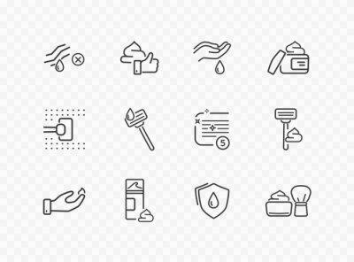 Zestaw ikon linii golenia na przezroczystym tle. Wektor opieki skóry, narzędzia do golenia, symbole konturu obrysu krem do twarzy dla swojego projektu.