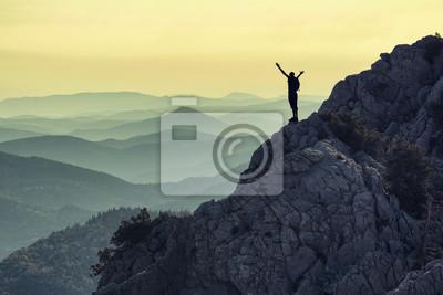 Naklejka Zirve tırmanış başarısı & Hedef mutluluğu