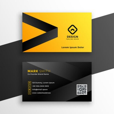 yellow and black modern business card design