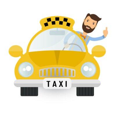 Naklejka yellow taxi car - vector icon