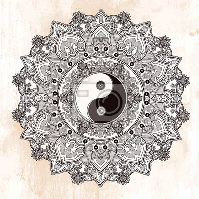 Naklejka Yin i Yang symbol mandali.