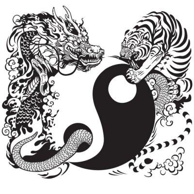 Naklejka Yin Yang z smoka i tygrysa