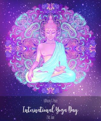 Naklejka Yoga card design. Colorful template for spiritual retreat or yoga studio. Ornamental business cards, oriental pattern. Vector illustration.