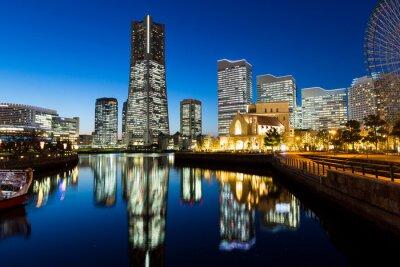 Naklejka Yokohama cityscape w nocy