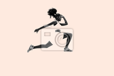 Naklejka Young african woman running. Creative collage. One female runner or jogger. Silhouette of jogging athlete. Concept of sport, healthy lifestyle, motion, action and movement, female strenght.