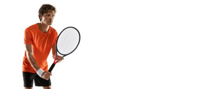 Naklejka Young Caucasian man, tennis player posing isolated on white background.