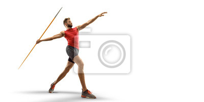 Naklejka Young male javelin thrower throwing a spear on white background. Isolated athlete in sport clothes