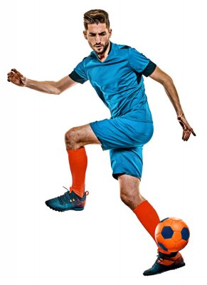 young soccer player man isolated white background standing