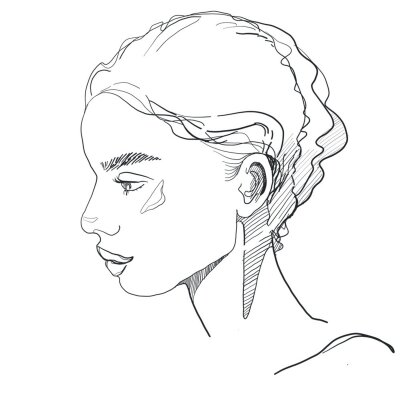 young women portrait  continues line hand drawing