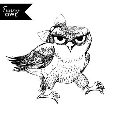 Naklejka zabawna postać sowy