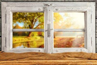 Naklejka Zabytkowe drewniane okna Overlook jesienne drzewa