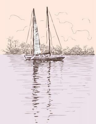 Naklejka żaglowiec na brzegu