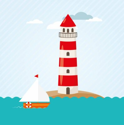 Naklejka Żaglówka na morzu przodu Lighthouse Vector