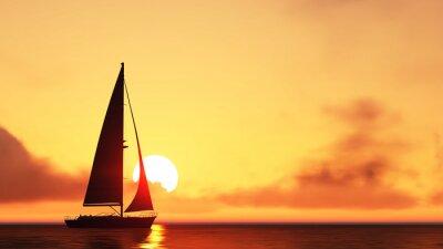 Naklejka żaglówkę i zachód słońca