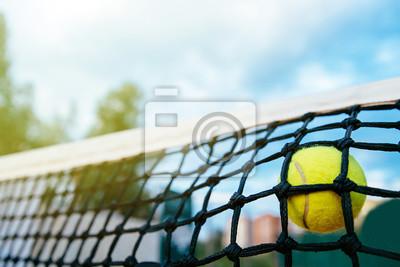Naklejka Zakończenie fotografia tenisowej piłki ciupnięcie sieć. Pojęcie sportu.