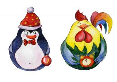Zaokrąglone śmieszne pingwin i kogut z złote szczegóły choinkowych na białym tle. Ręcznie rysowane akwarela malarstwo. Może być używany do Bożego Narodzenia i Nowego roku, ilustracji kart okoliczności