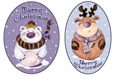 Zaokrąglone tagi Boże Narodzenie z zabawnymi niedźwiedzia polarnego i karibu na sobie purpurowe szaliki. akwarela. Malowane ręcznie.