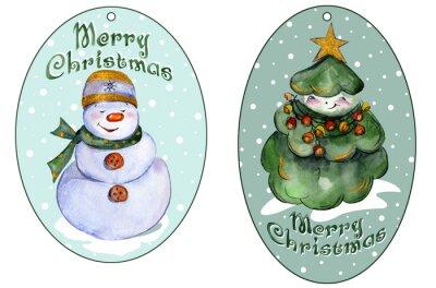 Zaokrąglone tagów dla xmas prezenty z uśmiechem choinki i Snowman. akwarela. Malowane ręcznie.