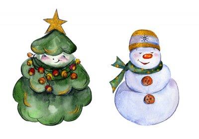 Zaokrąglone uśmiecha choinki i Snowman z złote szczegóły na białym tle. Ręcznie rysowane akwarela malarstwo. Może być używany do Bożego Narodzenia i Nowego roku, ilustracji kart okolicznościowych.
