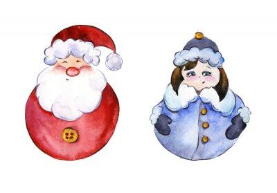 Zaokrąglone uśmiechnięty Santa Claus i zabawny Snow Maiden złotymi przycisków na białym tle. Ręcznie rysowane akwarela malarstwo. Może być używany do Bożego Narodzenia i Nowego roku, ilustracji kart o