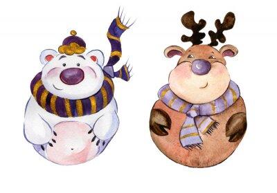 Zaokrąglone zabawny niedźwiedź polarny i karibu na sobie purpurowe szaliki na białym tle. Ręcznie rysowane akwarela malarstwo. Może być używany do Bożego Narodzenia i Nowego roku, ilustracji kart okol