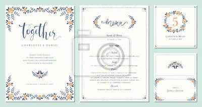 Zaproszenie, menu, numer stołu i nazwa miejsca projektu karty. Szablony ślubne kwiatowy. Dobry na urodziny, wesele i baby shower. Ilustracji wektorowych.