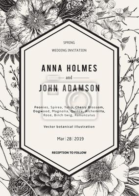 Zaproszenie na ślub. Wiosenne kwiaty i gałązka. Piwonie, Spirea, kwiat wiśni, dereń. Vintage ilustracji botanicznych. Czarny i biały