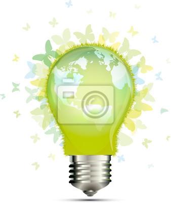 Naklejka Żarówka zielona energia świata