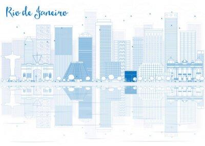 Naklejka Zarys Rio de Janeiro Skyline z niebieskimi budynkami.