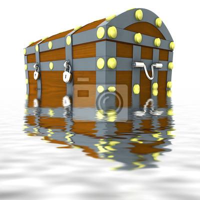 zatopiony metalowa skrzynia z drewna pół skarbów w wodzie